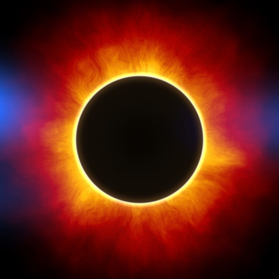 Source public domain - the corona is a burning light during a full eclipse of the sun.