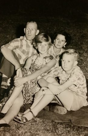 A rare family of Blue, with Isobel, Lesley, and Richard. Taken in Tumut 1959.