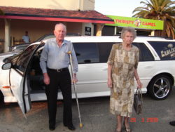 Blue and Isobel arriving for his Birthday lunch, by chauffeur