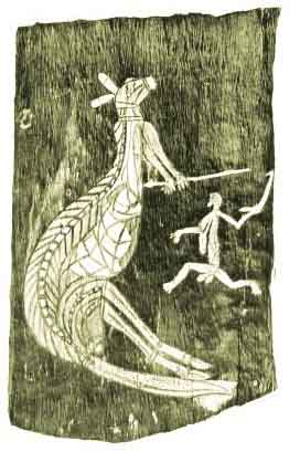Bark Drawing of a Kangaroo hunt in North Western Austrralia