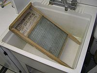 Scrubbing brushes and glass washboards were common place in the days of the iceman