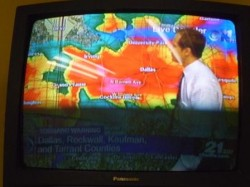 The TV gave constant updates on the Dallas hail and tornadoes